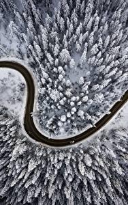 Bilder Wege Winter Wälder Von oben Schnee Natur