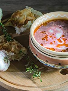 Bilder Suppe Brot Knoblauch Teller Schneidebrett