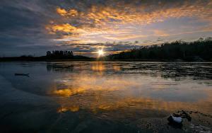 Bilder Schweden Sonnenaufgänge und Sonnenuntergänge See Wolke Sonne Natur