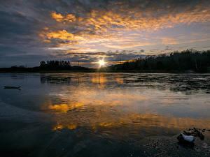 Bilder Schweden Sonnenaufgänge und Sonnenuntergänge See Wolke Sonne