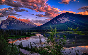 Hintergrundbilder Kanada Park Gebirge See Landschaftsfotografie Abend Banff Wolke Vermillion Lakes Natur
