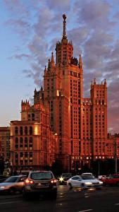 Fotos Moskau Russland Haus Abend Stadtstraße Kotelnicheskaya naberezhnaya
