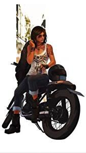 Bilder Motorradfahrer Brille Braunhaarige Sitzend Mädchens
