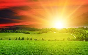Hintergrundbilder Landschaftsfotografie Sonnenaufgänge und Sonnenuntergänge Acker Himmel Gras Sonne