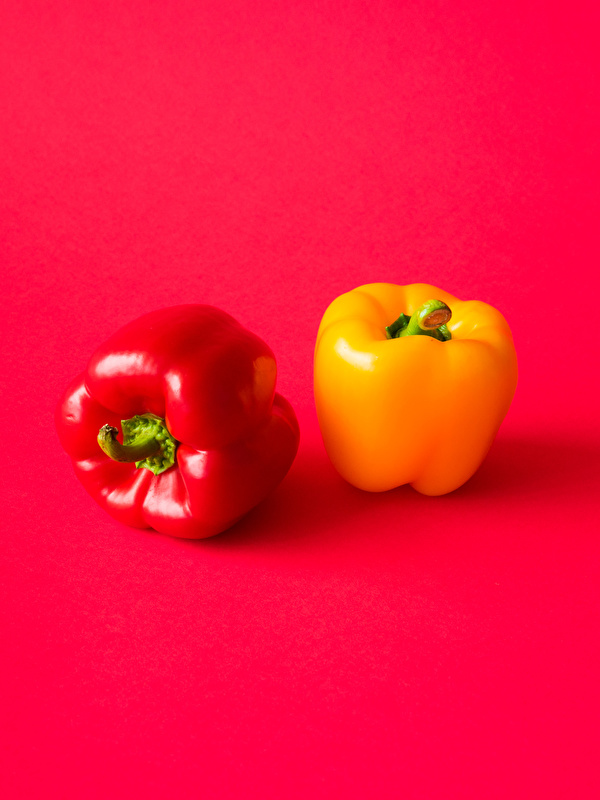 Desktop Wallpapers Two Yellow Red background Food Bell pepper Red 600x800 for Mobile phone 2