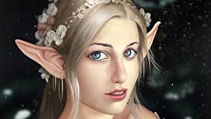 Fotos Elfen Gesicht Schön Blick Dunkelbraun Fantasy Mädchens