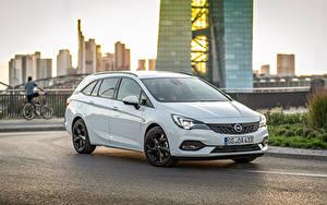 Hintergrundbilder Opel Weiß Metallisch 2019-20 Astra Sports Tourer Ultimate