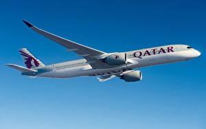Hintergrundbilder Verkehrsflugzeug Airbus Flug Seitlich Qatar Airways, A350-900 Luftfahrt