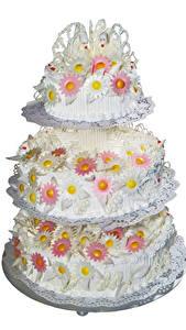 Bilder Süßigkeiten Torte Weißer hintergrund Design Hochzeit Wedding Cake