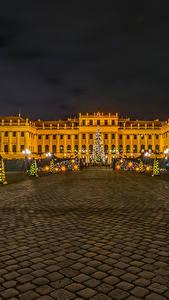 Hintergrundbilder Wien Neujahr Österreich Palast Tannenbaum Straßenlaterne Lichterkette Platz Schonbrunn Palace