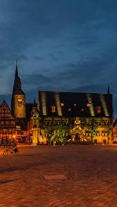 Bilder Deutschland Haus Platz Straßenlaterne Nacht Quedlinburg