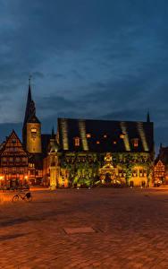 Bilder Deutschland Haus Platz Straßenlaterne Nacht Quedlinburg Städte