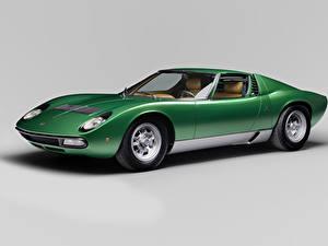 Bilder Lamborghini Retro Grauer Hintergrund Grün 1971-72 Miura P400 SV Worldwide Bertone Autos