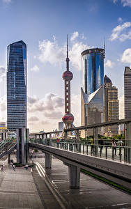 Bilder Shanghai China Brücke Gebäude Wolkenkratzer Straße Oriental Pearl Tower, Bank of Shanghai Headquarters