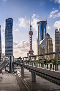 Bilder Shanghai China Brücke Gebäude Wolkenkratzer Straße Oriental Pearl Tower, Bank of Shanghai Headquarters Städte