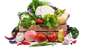 Photo Vegetables Cabbage Pepper Apples Mushrooms Tomatoes Pears White background