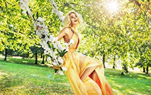 Fotos Blond Mädchen Lachen Kleid Schaukel Mädchens