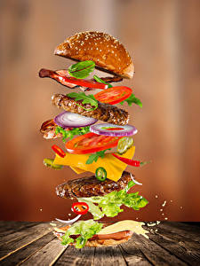 Images Fast food Hamburger Buns Vegetables Meat products Wood planks