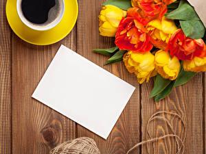 Bilder Feiertage Tulpen Kaffee Bretter Vorlage Grußkarte Blumen