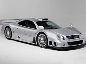 Wallpaper Mercedes-Benz Silver color Metallic Coupe Gray background CLK GTR AMG Coupe, 1997 automobile