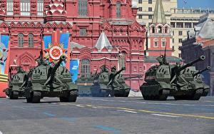 Hintergrundbilder Militärparade Tag des Sieges 9 Mai Selbstfahrlafette Russische 2S19 Msta-S 152mm Heer