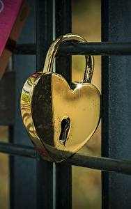 Fotos Vorhängeschloss Herz Gold Farbe