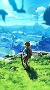 Bilder The Legend of Zelda Krieger Landschaftsfotografie Breath of the Wild Spiele Fantasy