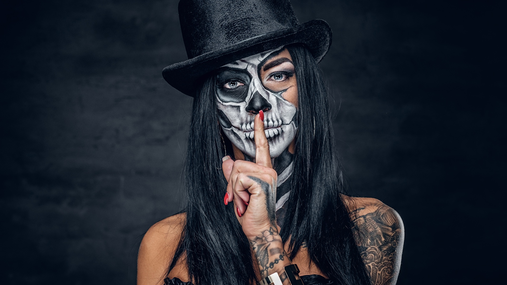 Images Tattoos Brunette Girl Makeup Day Of The Dead Hat 1920x1080