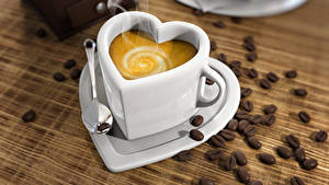 Bilder Kaffee Cappuccino Tasse Herz Getreide Löffel