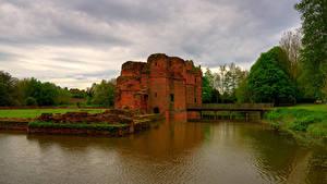 デスクトップの壁紙、、イングランド、城、廃墟、池、橋、KIRBY CASTLE、都市