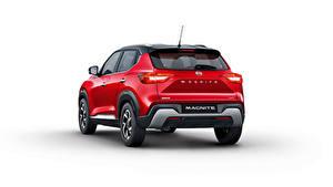 Fotos Nissan Crossover Rot Metallisch Hinten Weißer hintergrund Magnite, India, 2021 Autos