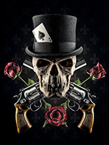 Photos Skulls Revolver Hat Rose Fantasy Black Background