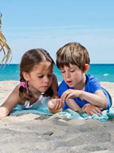 Picture 2 Beaches Sand Boys Little girls Children