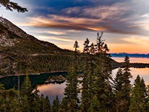 Photo USA Lake Forests Mountains Sunrises and sunsets California Lake Tahoe, Sierra Nevada Nature