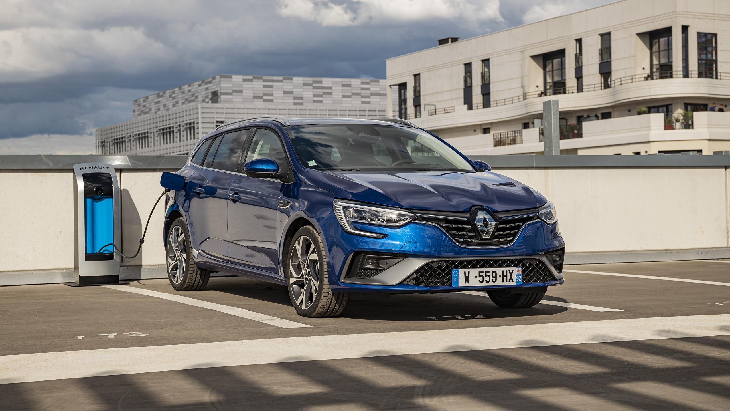Bilder von Renault Parkplatz Hybrid Autos Blau Autos Metallisch 2560x1440 parken geparktes auto automobil