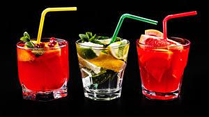 Fotos Alkoholische Getränke Cocktail Zitrusfrüchte Schwarzer Hintergrund Drei 3 Dubbeglas Trinkglas