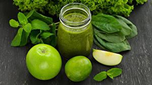 Hintergrundbilder Äpfel Limette Smoothie Gemüse Trinkglas Weckglas Lebensmittel
