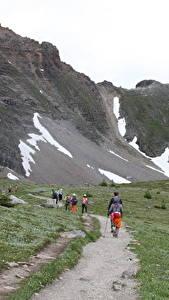 Bilder Kanada Park Gebirge Weg Gras Wanderung Banff