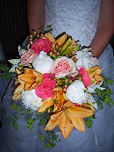 Fotos Sträuße Rosen Lilien