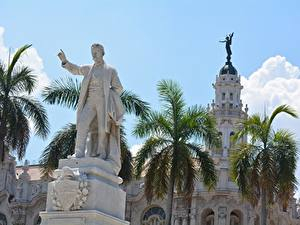 Hintergrundbilder Kuba Denkmal Mann Palmengewächse Havana, monument to Jose Marti Städte