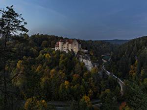 Hintergrundbilder Deutschland Burg Wälder Wege Abend Burg Rabenstein