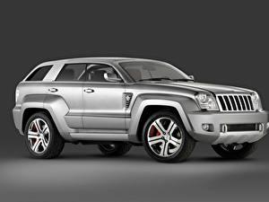 デスクトップの壁紙、、ジープ、灰色、メタリック塗、側面図、SUV、Trailhawk Concept, 2007、自動車