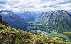 Hintergrundbilder Norwegen Berg Flusse Landschaftsfotografie Laubmoose Romsdalseggen Ridge Valley