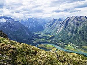Hintergrundbilder Norwegen Berg Flusse Landschaftsfotografie Laubmoose Romsdalseggen Ridge Valley Natur