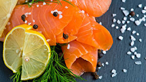 Picture Seafoods Fish - Food Dill Lemons Colored background Salt Food