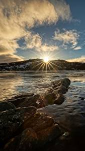 Desktop hintergrundbilder Himmel Norwegen Wolke Sonne Lichtstrahl Troms Natur
