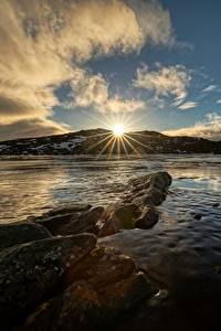Fotos Himmel Norwegen Wolke Sonne Lichtstrahl Troms