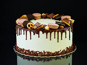 Hintergrundbilder Süßware Torte Kekse Schokolade Schwarzer Hintergrund Lebensmittel