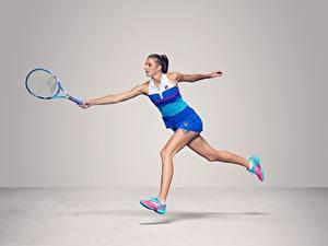 Papéis de parede Ténis Corrida Fundo cinza Pernas Czech WTA Karolina Pliskova Esporte Meninas