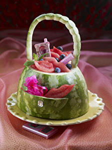 Wallpapers Watermelons Handbag Design Plate Food